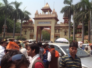 Banaras Hindu University  gate where Dharna was scheduled.